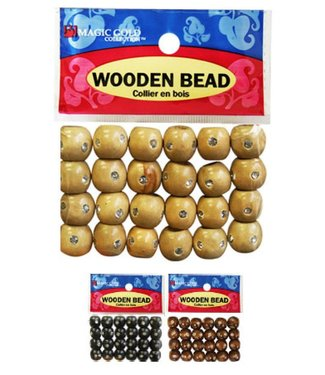 Magic Collection Wooden Beads w/Stone Small - Dark Brown