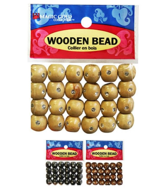 Magic Collection Wooden Beads W/Stone Small