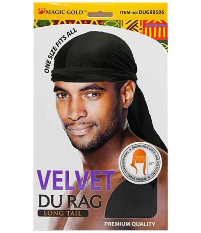 MAGIC GOLD Velvet Du Rag Long Tail - Black