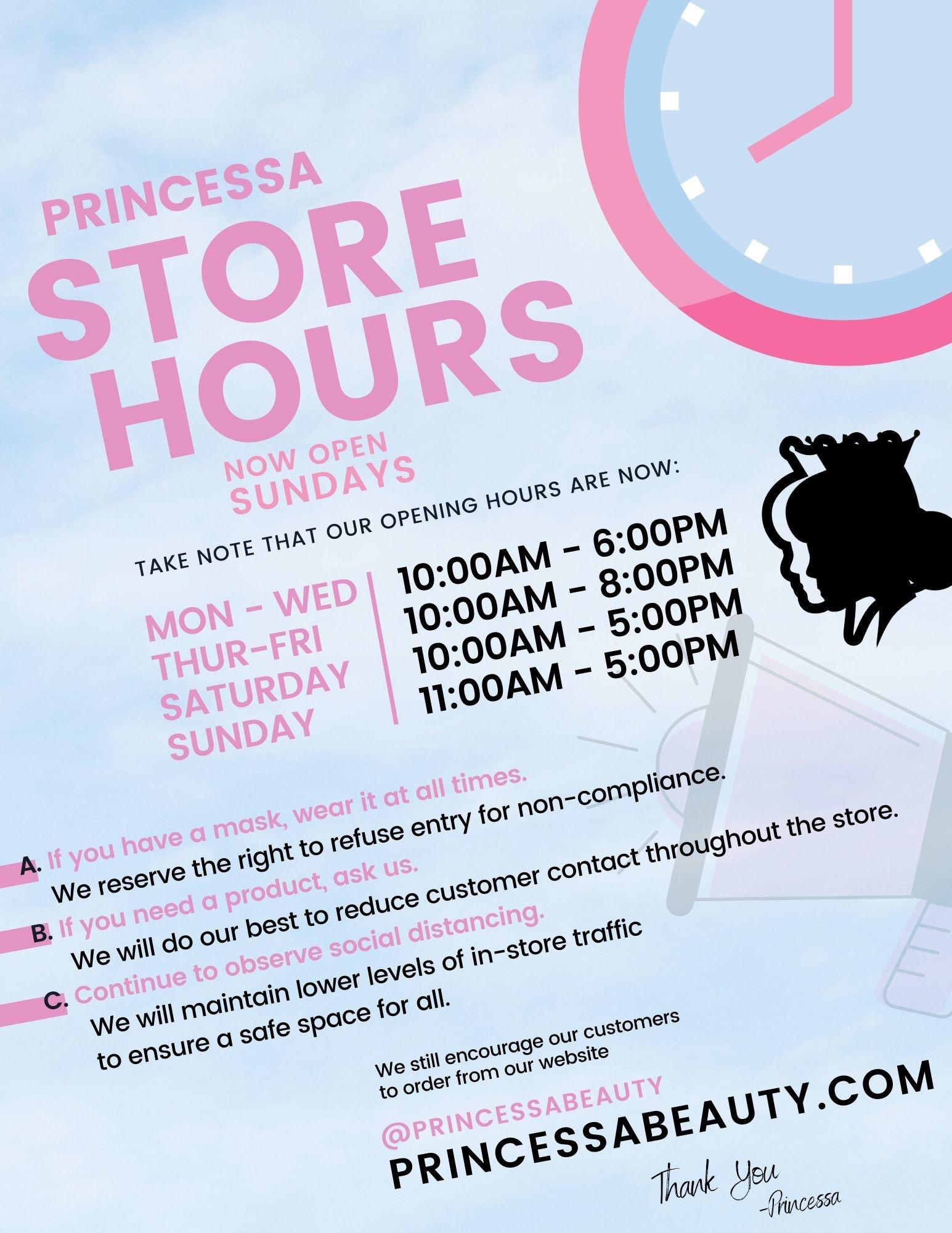 Princessa now reopen on Sundays!