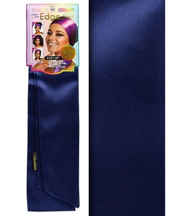 Touch Down Laying & Styling Edge Scarf - Navy (100% Satin)