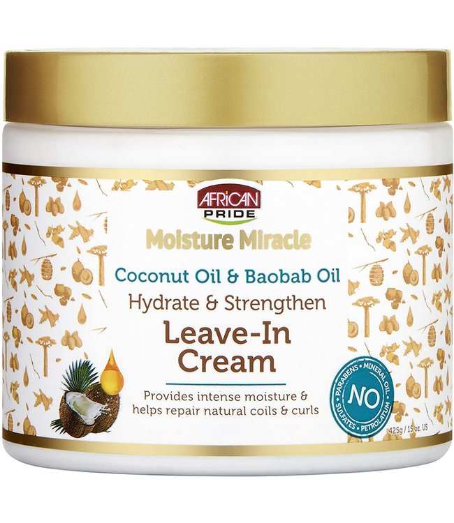 African Pride  Moisture Miracle Coconut Oil & Baobab Oil Hydrate & Strengthen Leave-In Cream 15oz