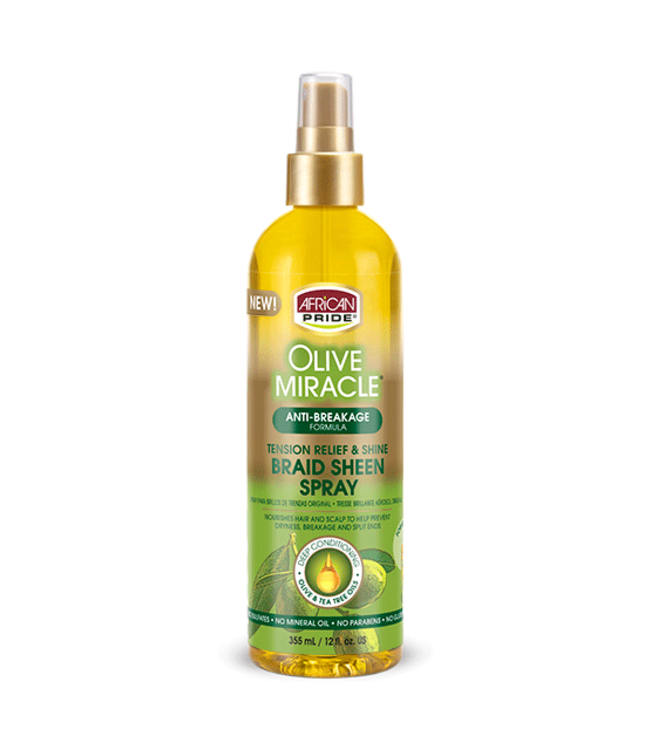 African Pride Olive Miracle Tension Relief & Shine Braid Sheen Spray (12oz)