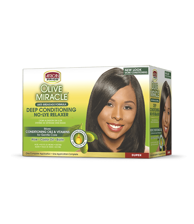 African Pride Olive Miracle Deep Conditioning No-Lye Relaxer Kit - Super