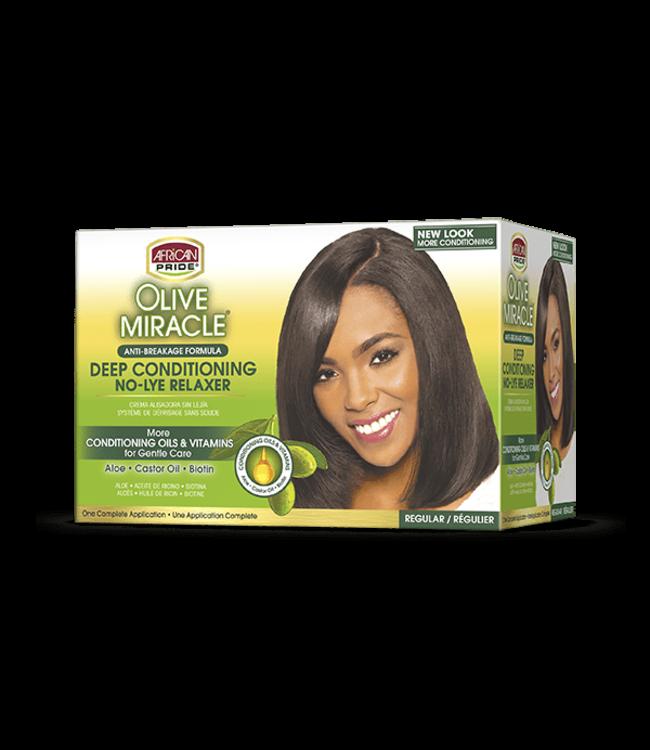 African Pride Olive Miracle Deep Conditioning No-Lye Kit - Regular