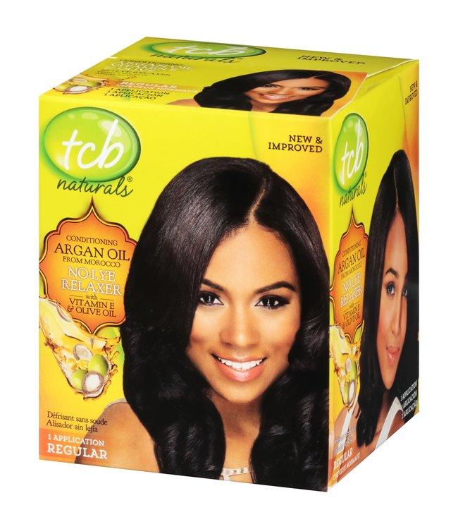 TCB Naturals Argan Oil No Lye Relaxer Vitamin E & Olive Oil Kit Regular