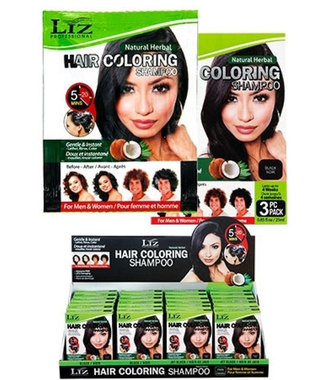 Liz Professional Hair Coloring Shampoo - Black