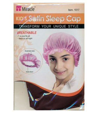 Miracle Kid's Satin Sleep Cap - Black (1016)