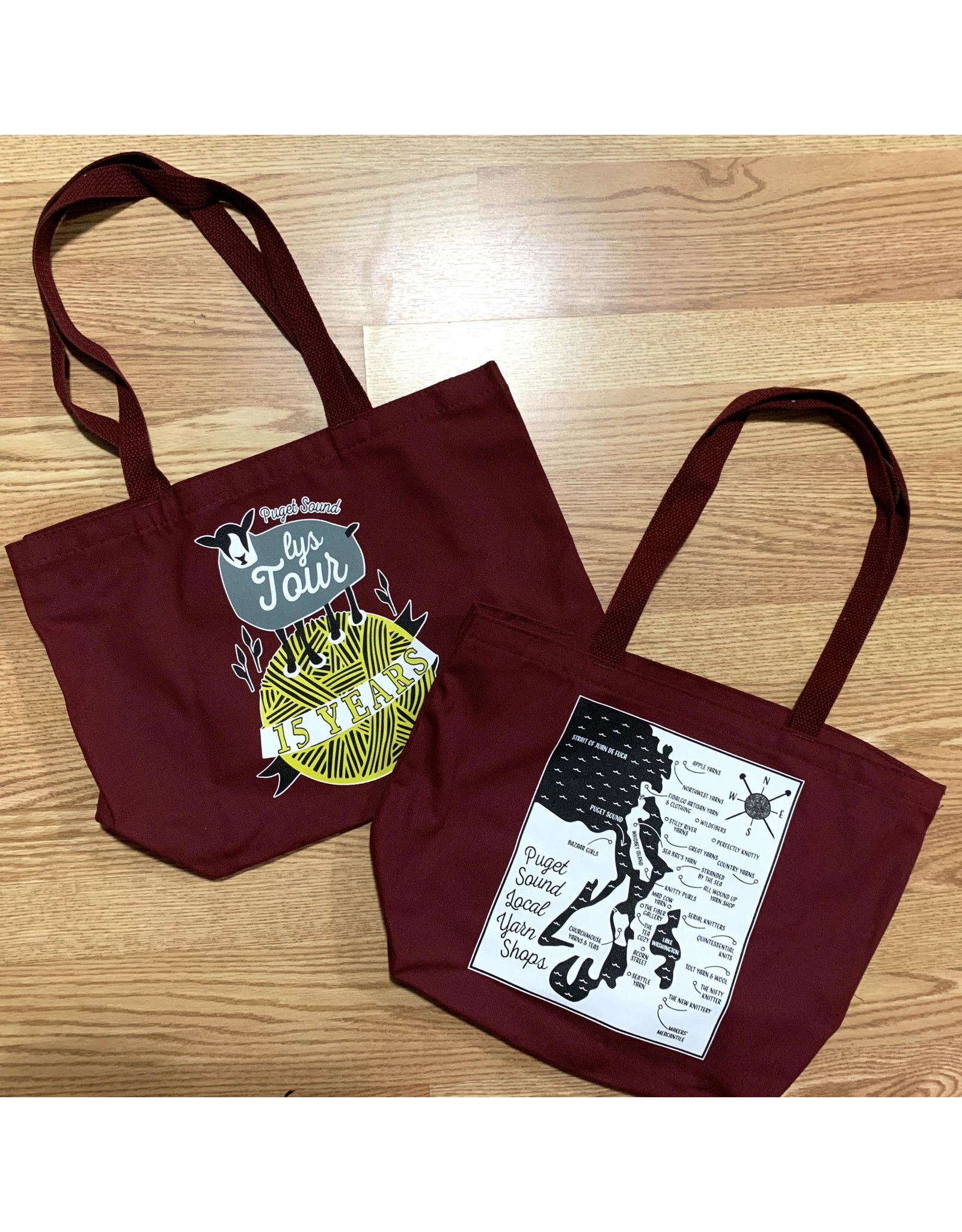 Puget Sound Yarn Tour LYS 15th Anniversary Tote (2020)