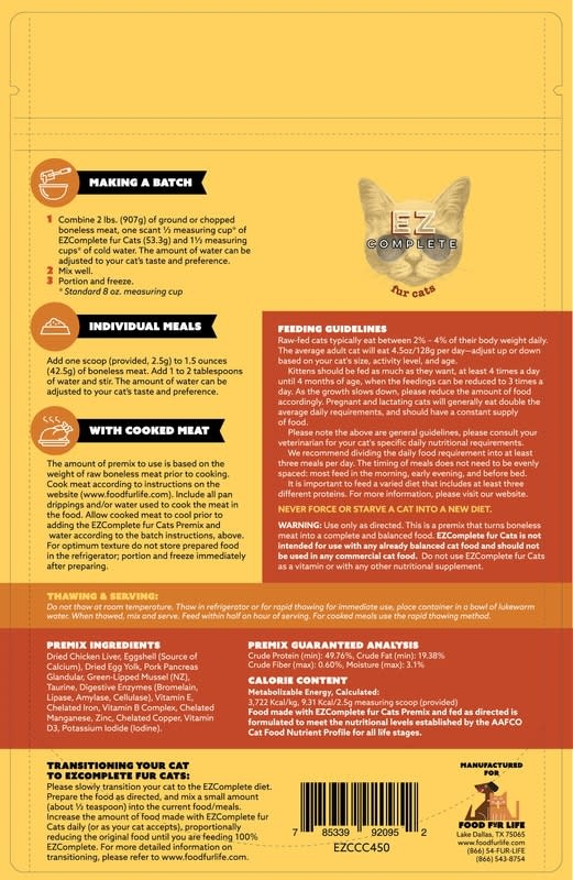 Food Fur Life, LLC EZ Complete Fur Cats Premix 7.9 oz