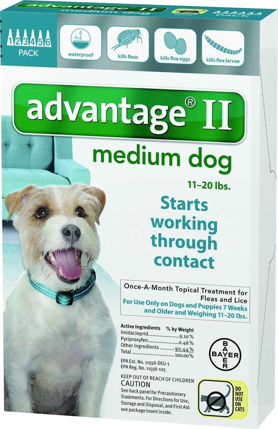 Advantage (Bayer) Advantage II Medium Dog, 6 Months
