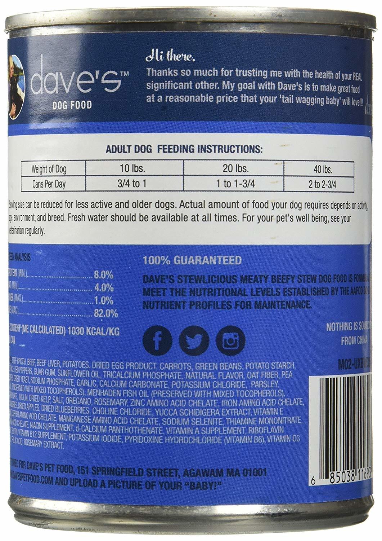 Dave's Dave's Dog Meaty Beefy Stew 13.2 oz