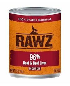Rawz 96% Beef/Beef Liver 12.5 oz Case