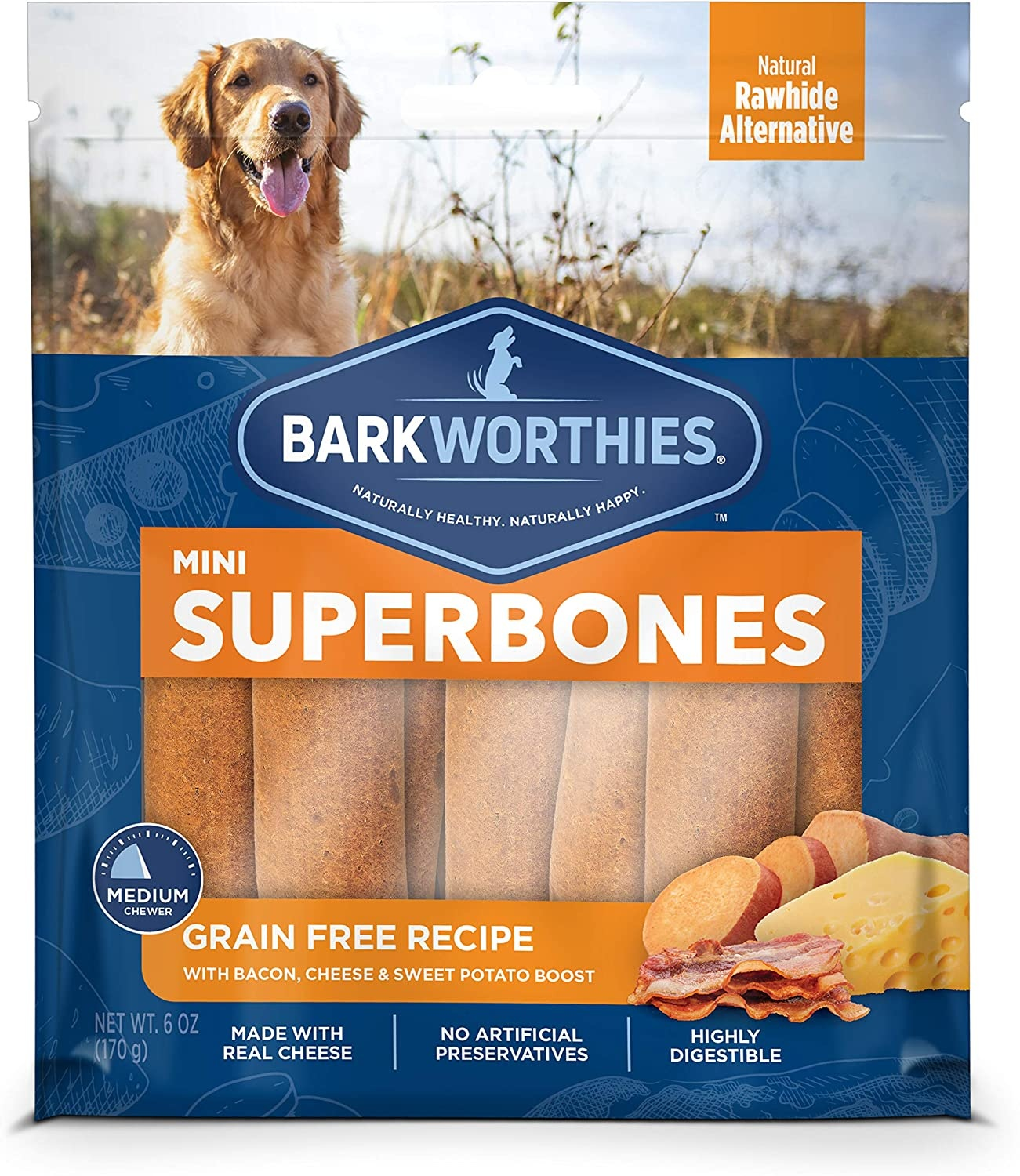 Barkworthie's BW Superbones Mini Bacon/Cheese 12 ct