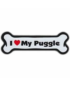 I Love My Puggle Bone Magnet