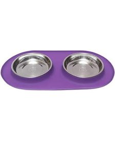 Messy Cats Double Bowl Purple MD