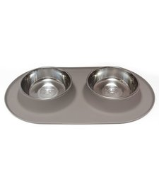 Messy Mutts LG Double Bowl Grey