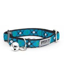 Worthy Dog Cat Collar Plaid Blue