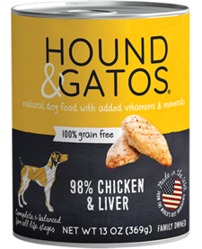 Hound & Gatos Dog Chkn & Liver 13oz