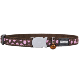 "RedDingo RedDingo Pink Spots on Brown Collar - 8""-13"""