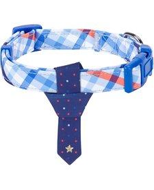 Scottish Dog Collar W/Tie Blue-Medium