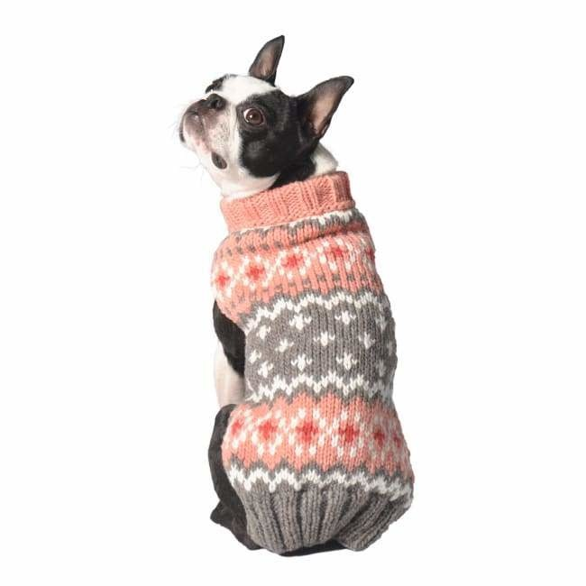 Chilly Dog Peach Fairisle Sweater MD