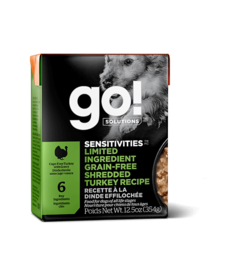 Go! SENSITIVITIES Limited Ingredient Grain Free Shredded Turkey Dog Food 12.5oz