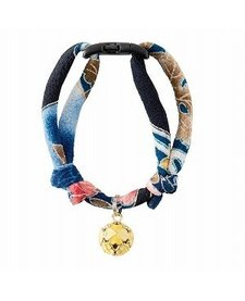 Chirimen Cat Collar with Clover Bell  Navy