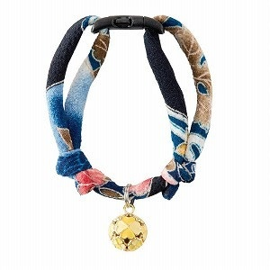 Necoichi Chirimen Cat Collar with Clover Bell  Navy
