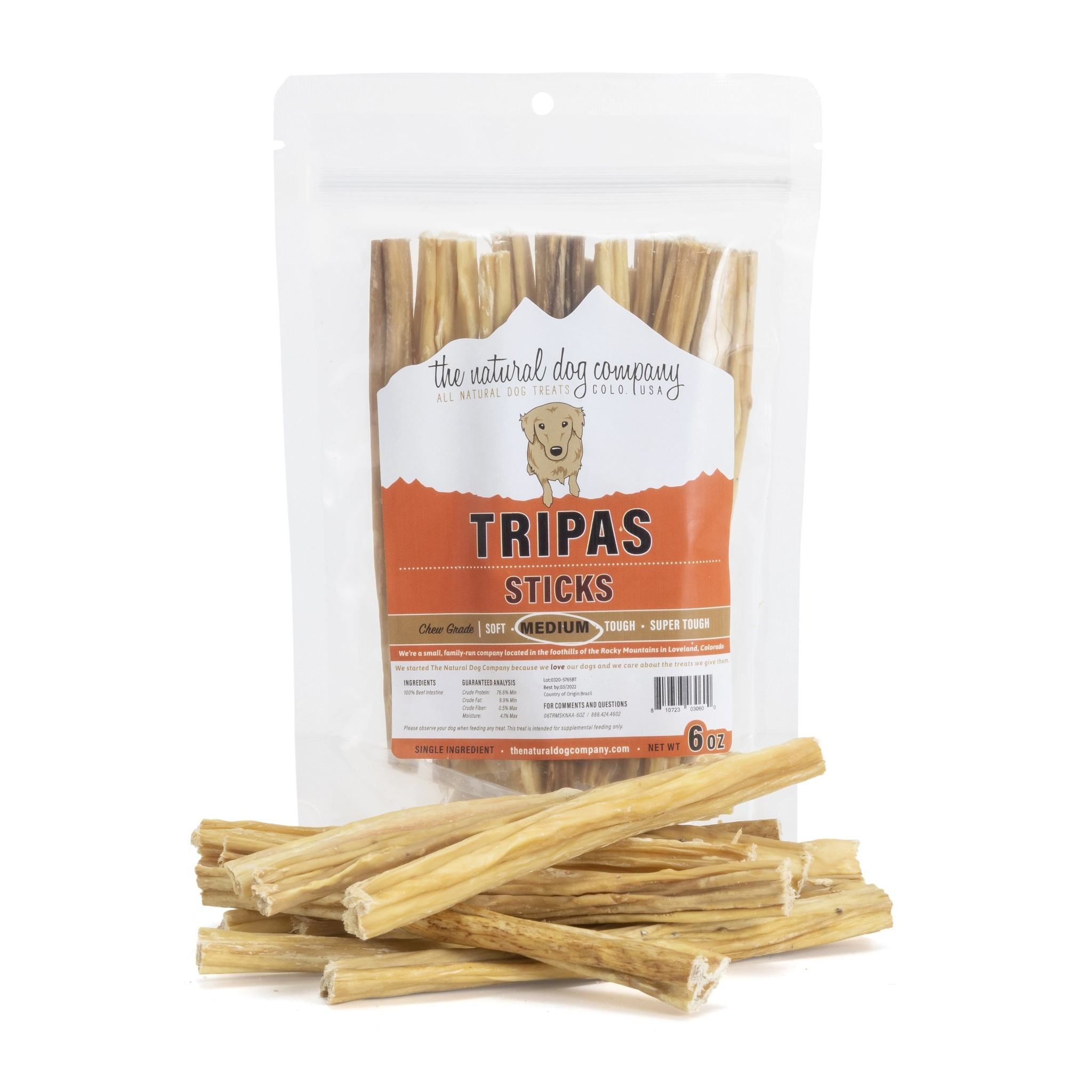 "The Natural Dog Co. NDC 12"" Tripas Sticks 6oz"
