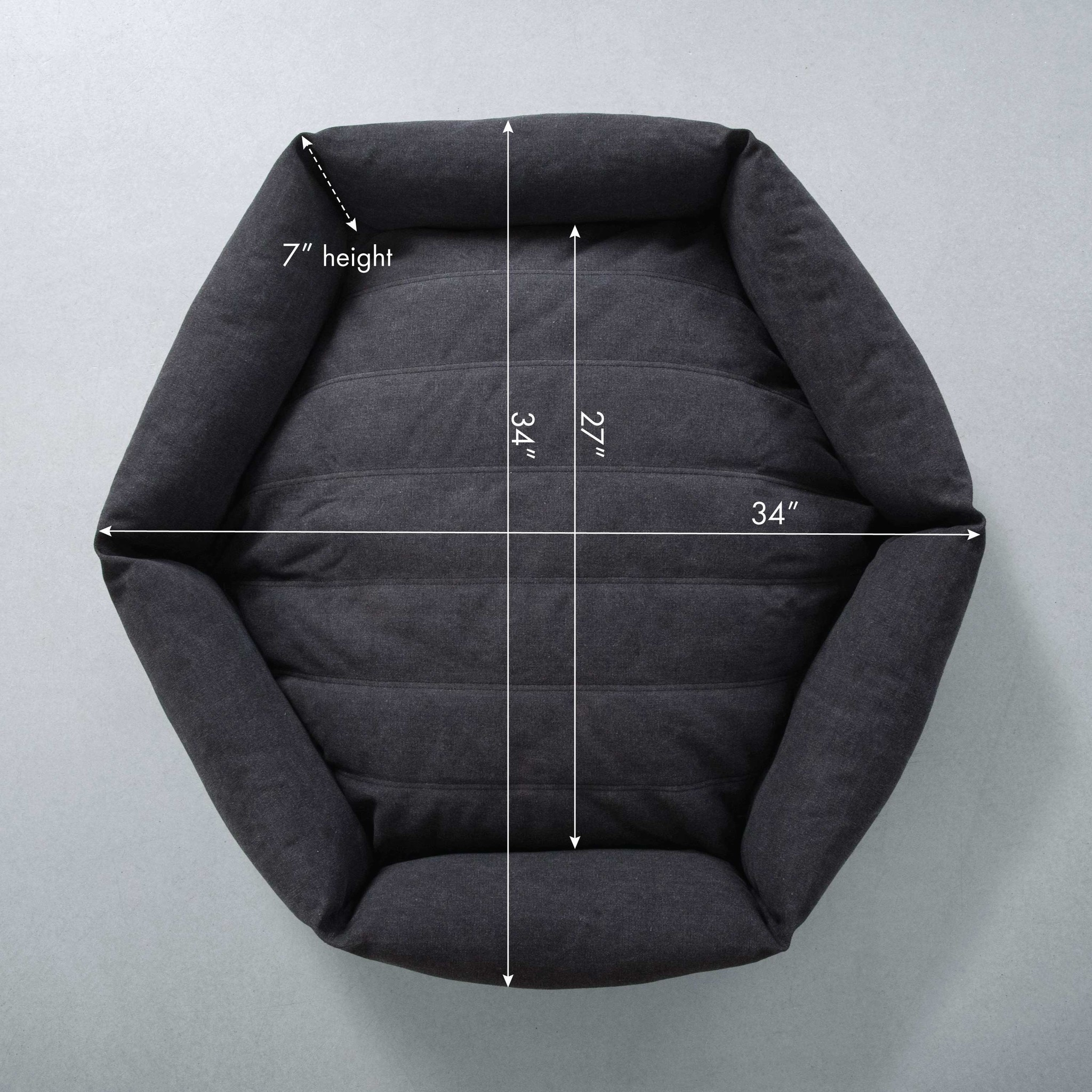 Velvet Hippo Velvet Hippo Canvas Hex Cushion LG Shadow