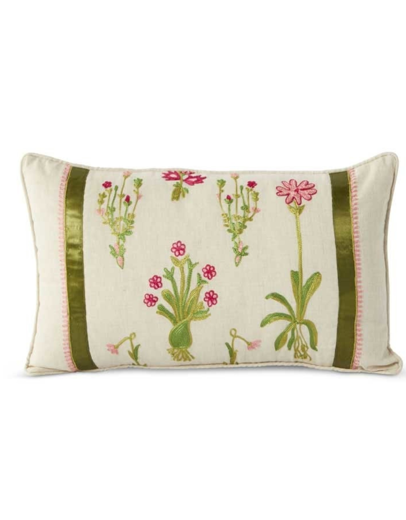 K & K Interiors Linen Pillow w/Pink Flowers/Green Ribbon