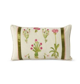 K & K Interiors Linen Pillow w/Pink Flowers/Green Ribbon