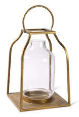 K & K Interiors Gold Lantern w/Glass Hurricane