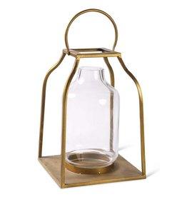 K & K Interiors Gold Lantern w/Glass Hurricane