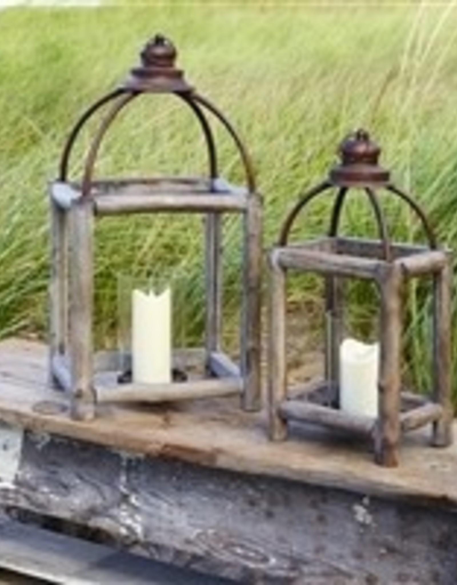 """Melrose 20.5"""" Wood/Metal Glass Lantern"""