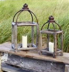 "Melrose 20.5"" Wood/Metal Glass Lantern"
