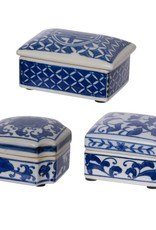 A & B Home Blue & White Decorative Box