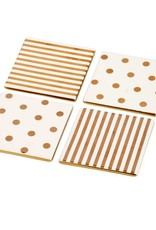 A & B Home Gold/Cream Coaster Set/4