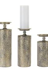 """Melrose 14""""Gold Dimpled Candle Holder"""