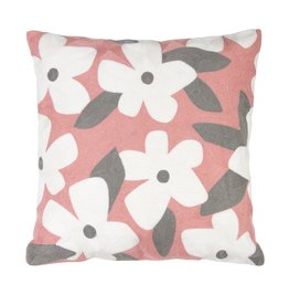 Melrose White Flowered Pillow 14""