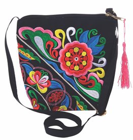 Kaleidioscope Black Crossbody w Embroidery