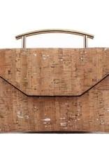 Mimi Wholesale Cork & Gold Handled Clutch