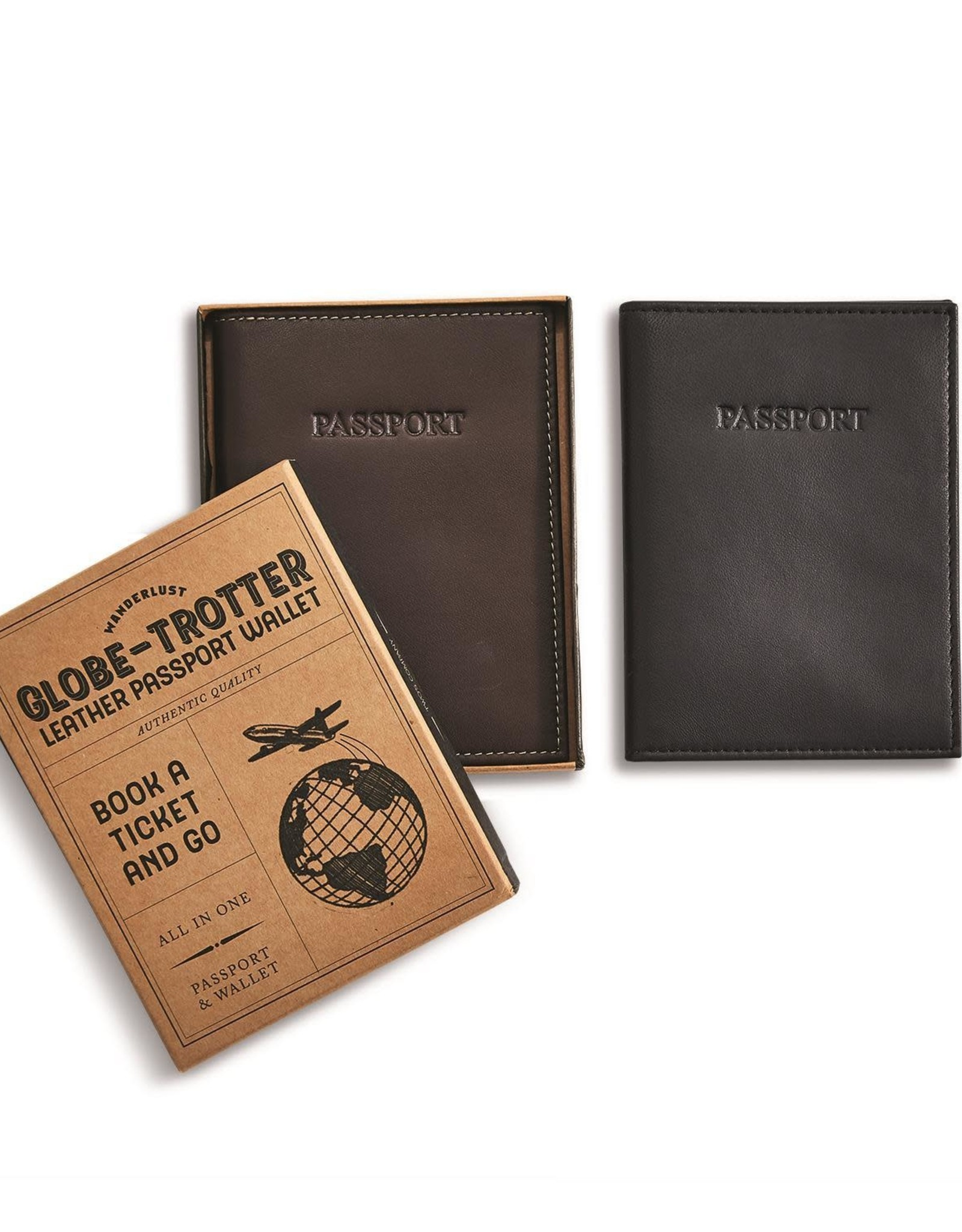 Two's Company Black Leather Passport Holder