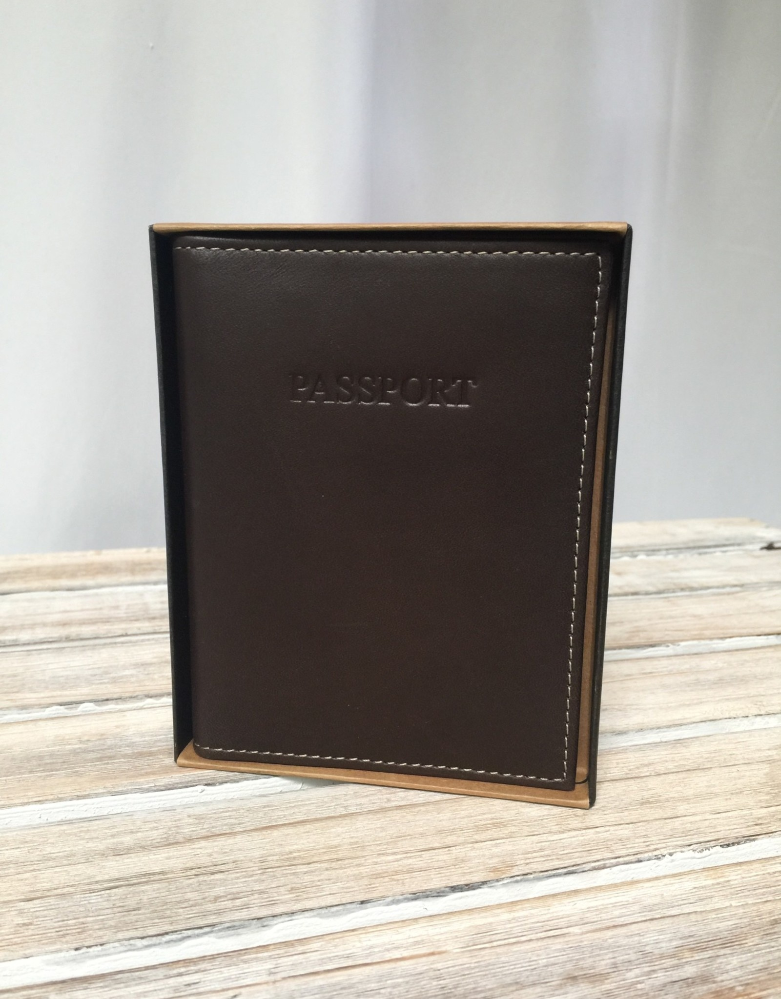 Two's Company Brown Leather Passport Holder