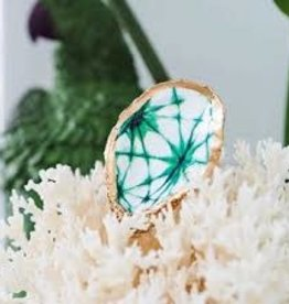 Kcrook Designs Green Shibori Oyster Shell Dish
