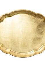 Vietri Florentine Wooden Gold Large Oval Tray
