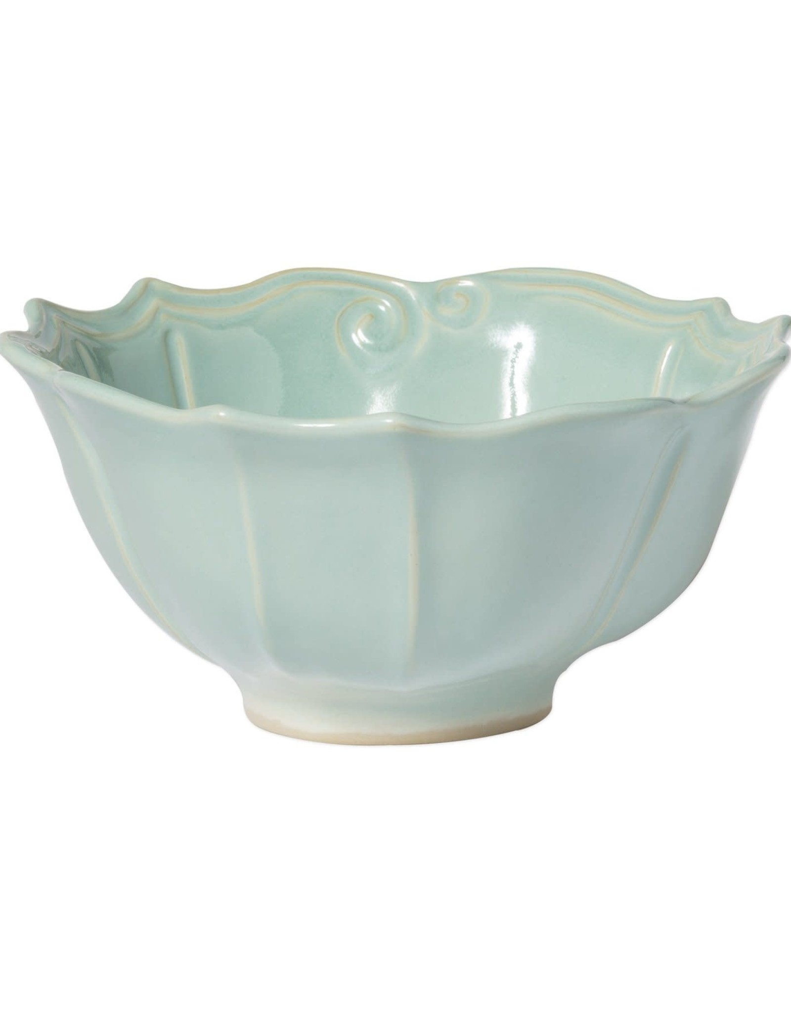 Vietri Incanto Stone Aqua Baroque Medium Serving Bowl