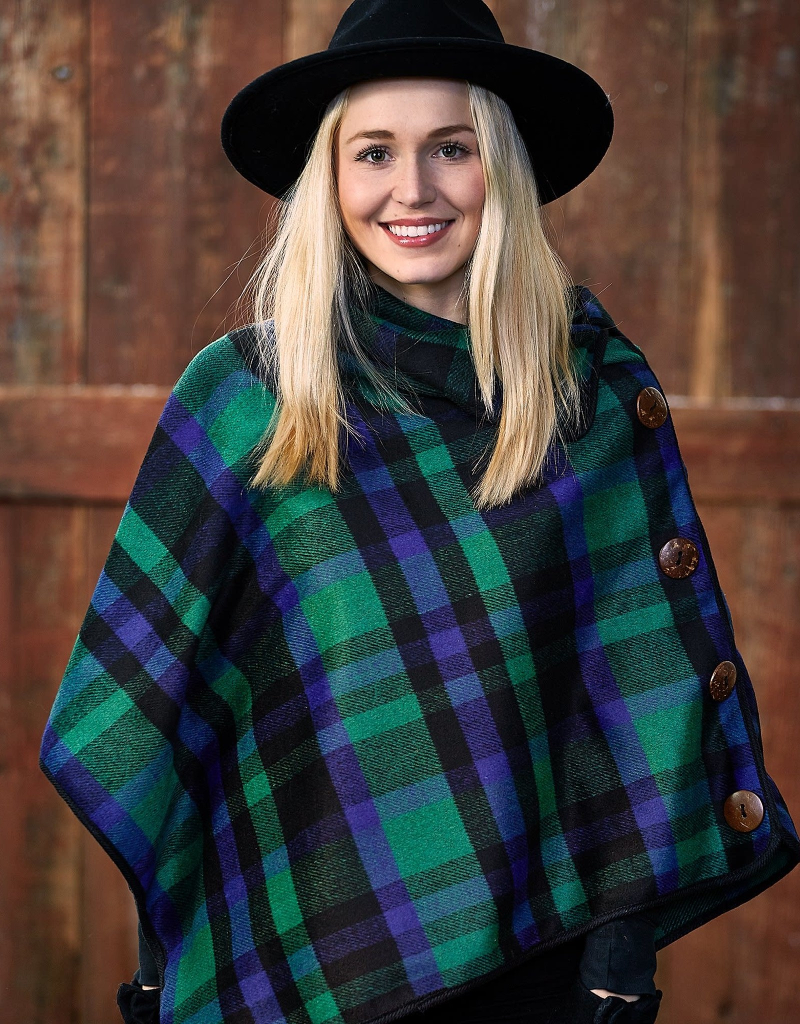 tickled pink Spruce Patrick Plaid Button Poncho
