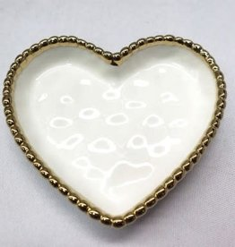 Pampa Bay Small Heart Dish, White Gold